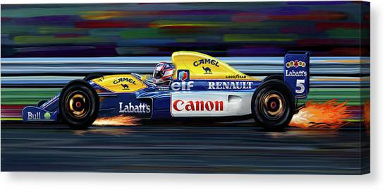 Formula 1 Canvas Print - Nigel Mansell Williams Fw14b by David Kyte