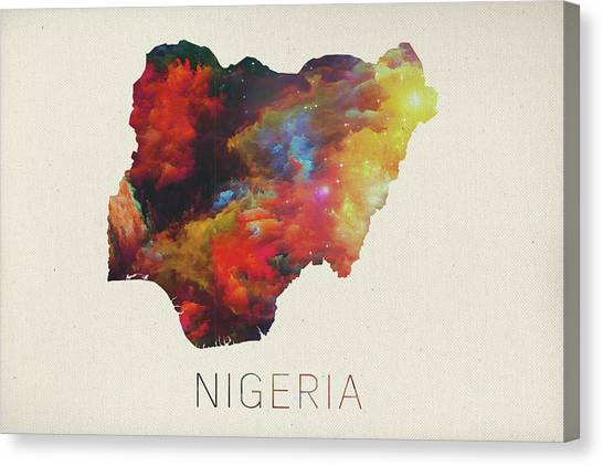 Nigeria Canvas Print - Nigeria Watercolor Map by Design Turnpike