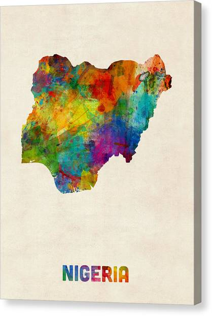 Nigeria Canvas Print - Nigeria Watercolor Map by Michael Tompsett