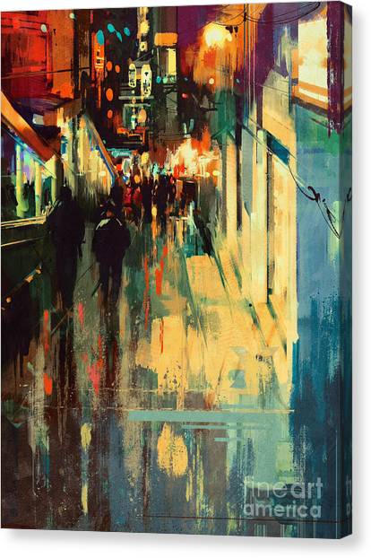 Canvas Print featuring the painting Night Alleyway by Tithi Luadthong