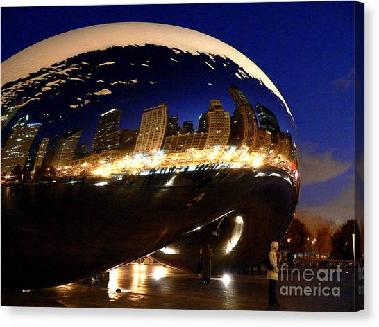 Cloudgate Canvas Print - Night At The Bean by David Bearden