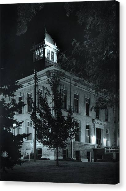 Night At The Court House Canvas Print by Jim Furrer