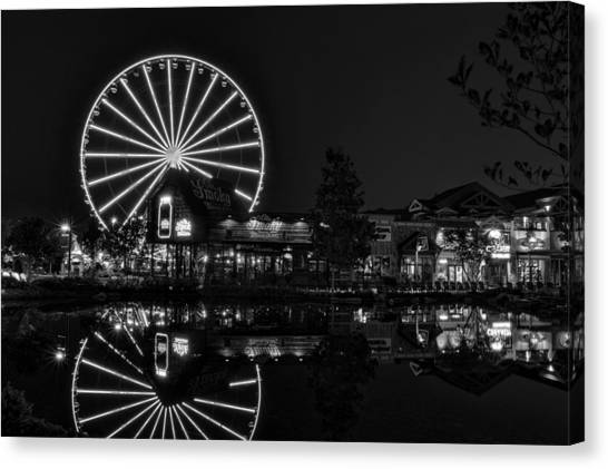 Night At The Island In Black And White Canvas Print