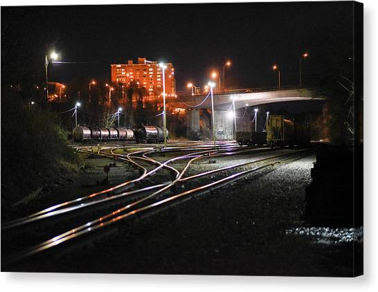 Night At The Railyard Canvas Print