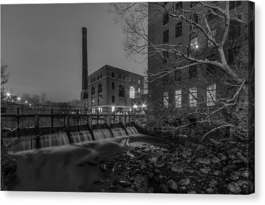 Night At The River 2 In Black And White Canvas Print
