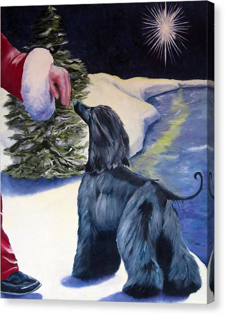Sight Hound Canvas Print - Night Before Xmas by Terry  Chacon