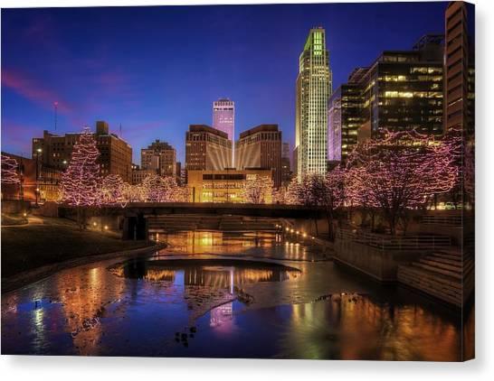 Night Cityscape - Omaha - Nebraska Canvas Print