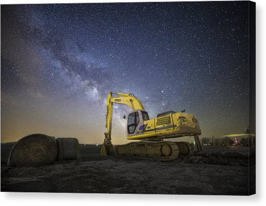 Excavators Canvas Print - Night Excavation  by Aaron J Groen