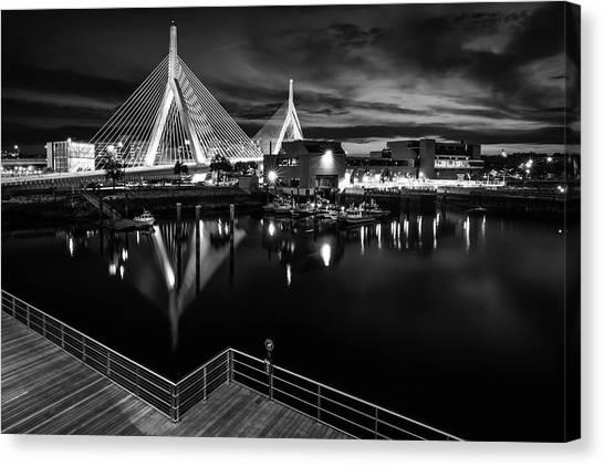 Night Falling On Zakim Bridge Canvas Print