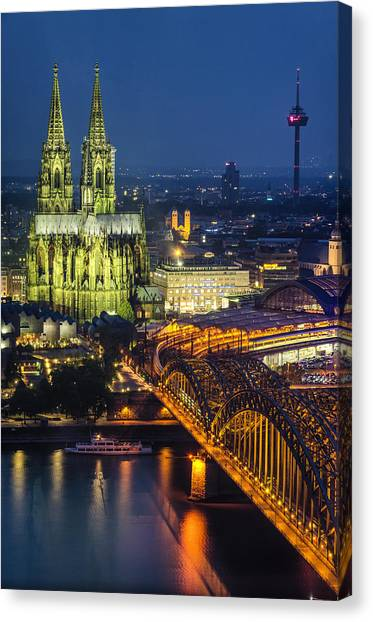 Night Falls Upon Cologne 1 Canvas Print