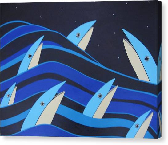 Night Fish Stars On The Water Canvas Print by Sandra McHugh