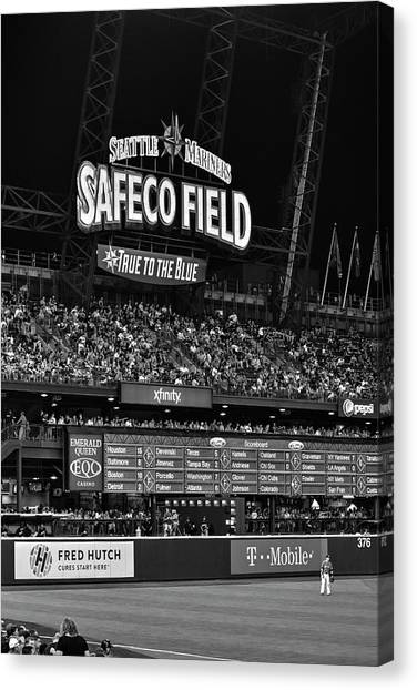 Seattle Mariners Canvas Print - Night Game - Safeco Field by Daniel Hagerman