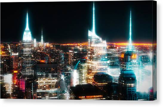 Canvas Print featuring the mixed media Night Glow New York City by Dan Sproul