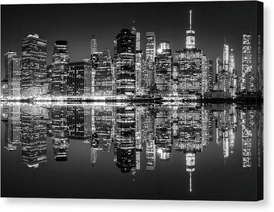Manhattan At Night Canvas Print - Night Grooves by Az Jackson
