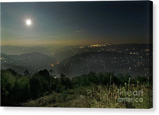 Kangchenjunga Canvas Print - Night Image Of Darjeeling by Rudra Narayan Mitra