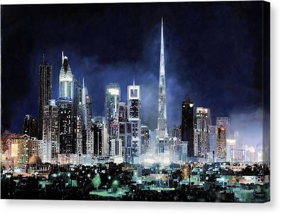 Skyscrapers Canvas Print - night in Dubai City by Guido Borelli
