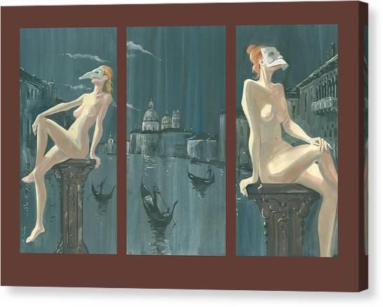 Night In Venice. Triptych Canvas Print