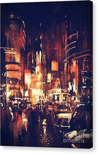Canvas Print featuring the painting Night Life by Tithi Luadthong
