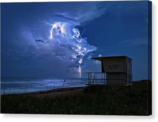Night Lightning Under Full Moon Over Hobe Sound Beach, Florida Canvas Print