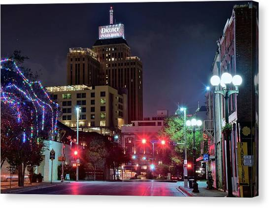 San Antonio Spurs Canvas Print - Night Lights Of San Antonio by Frozen in Time Fine Art Photography