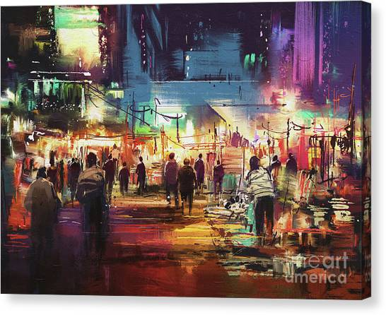 Canvas Print featuring the painting Night Market by Tithi Luadthong