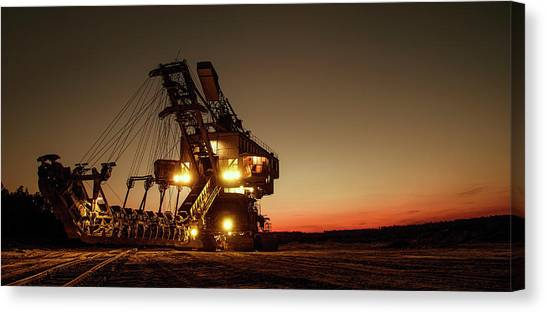 Backhoes Canvas Print - Night Mining Bucket Excavator by Daniel Hagerman