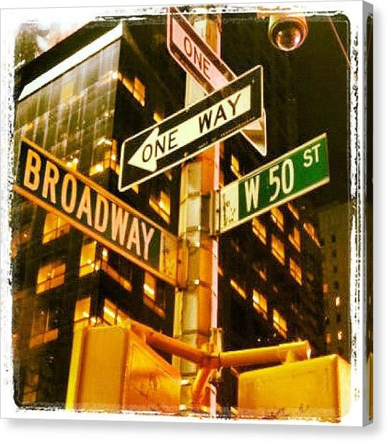 Street Signs Canvas Print - Night Of Musical!!! Night @broadway!!! by Luis Alberto