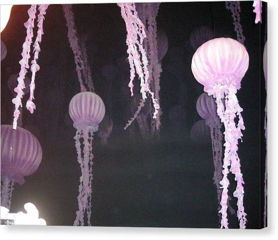 Ocean Life Canvas Print - Night Of The Jellies by B A Bunting