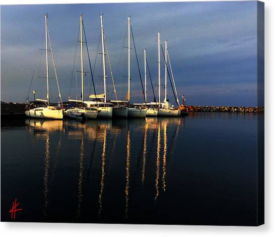 Night On Paros Island Greece Canvas Print