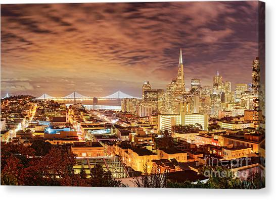 Long Wharf Canvas Print - Night Panorama Of San Francisco And Oak Area Bridge From Ina Coolbrith Park - California by Silvio Ligutti