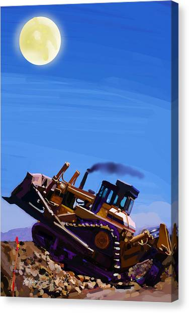 Bulldozers Canvas Print - Night Push by Brad Burns
