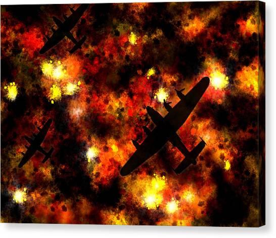 Bombers Canvas Print - Night Raid - Lancaster Bomber by Michael Tompsett