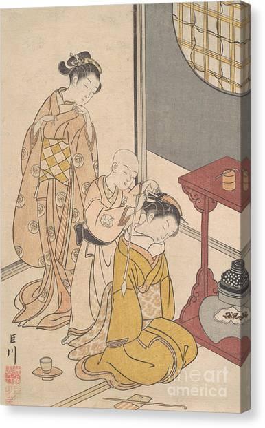 Suzuki Canvas Print - Night Rain At The Double Shelf Stand, From The Series Eight Parlor Views  by Suzuki Harunobu