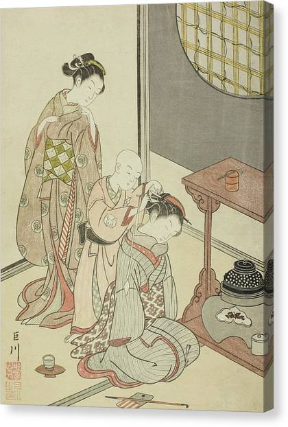 Suzuki Canvas Print - Night Rain Of The Tea Stand by Suzuki Harunobu