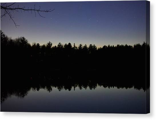 Night Reflects On The Pond Canvas Print