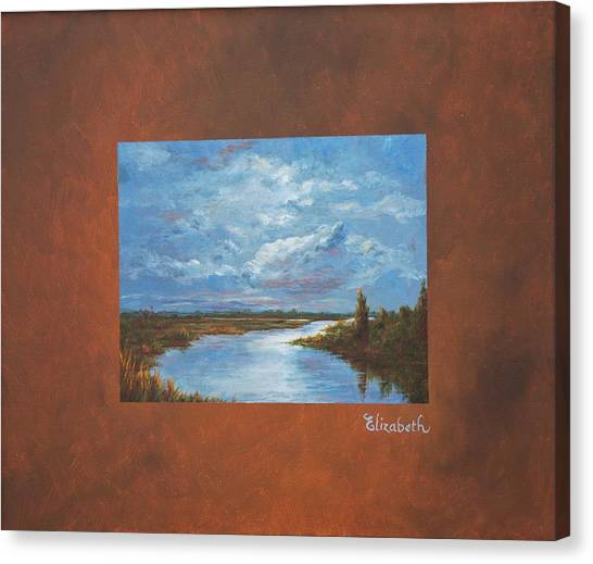 Night River With Painted Border Canvas Print by Beth Maddox