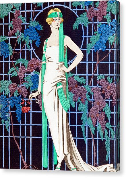 Vine Grapes Canvas Print - Night Rose by Georges Barbier