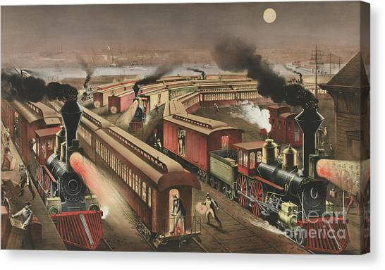 Currier And Ives Canvas Print - Night Scene At An American Railway Junction by Currier and Ives