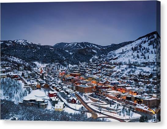 Night Scene In Park City. Canvas Print