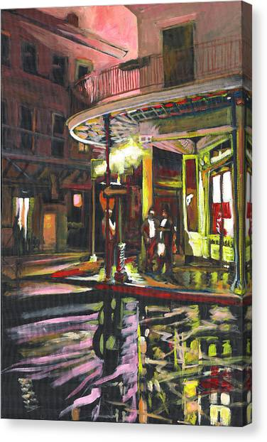 Canvas Print featuring the painting Night Shift by Amzie Adams