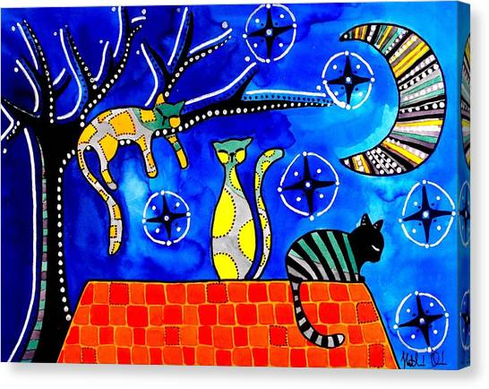 Night Shift - Cat Art By Dora Hathazi Mendes Canvas Print