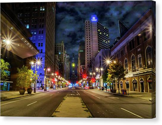 Canvas Print featuring the photograph Night Shot Of Broad Street - Philadelphia by Bill Cannon