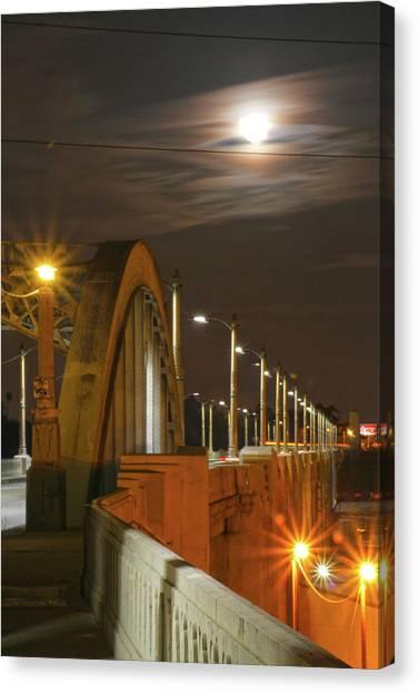 Night Shot Of The Los Angeles 6th Street Bridge And Supermoon #4 Canvas Print