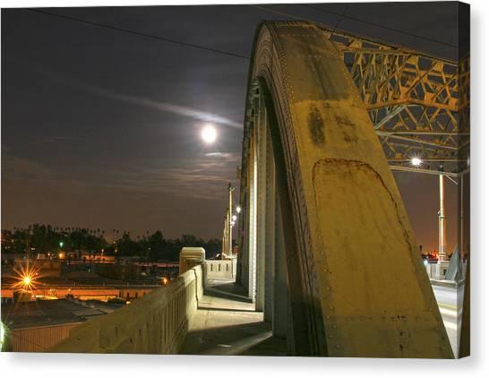 Night Shot Of The Los Angeles 6th Street Bridge And Supermoon #6 Canvas Print