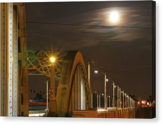 Night Shot Of The Los Angeles 6th Street Bridge And Supermoon #7 Canvas Print