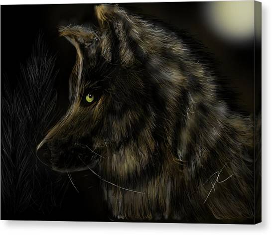 Canvas Print featuring the digital art Night Silent Wolf by Darren Cannell