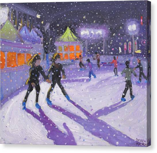 Figure Skating Canvas Print - Night Skaters by Andrew Macara