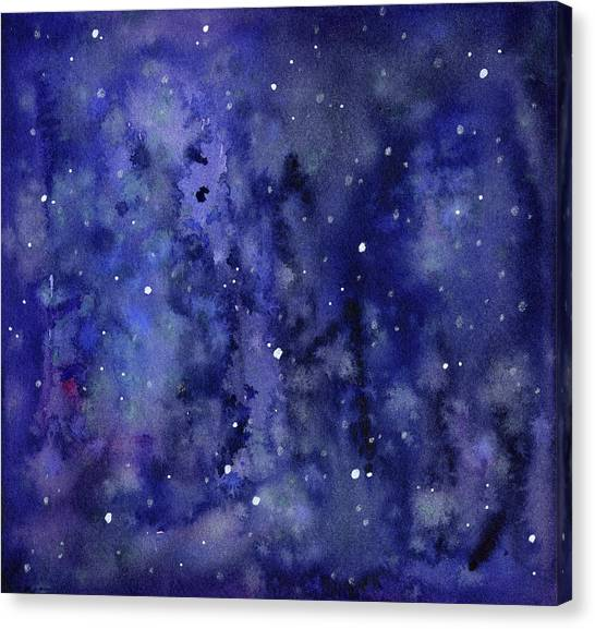 Constellations Canvas Print - Night Sky Watercolor Galaxy Stars by Olga Shvartsur