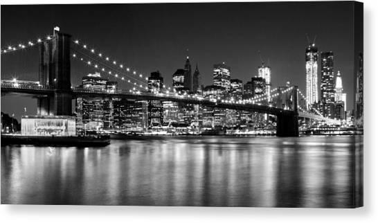 Brooklyn Bridge Canvas Print - Night Skyline Manhattan Brooklyn Bridge Bw by Melanie Viola