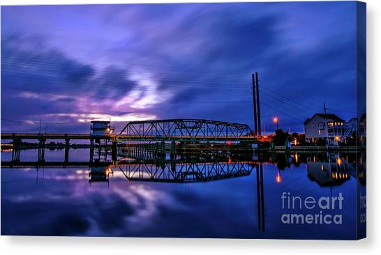 Night Swing Bridge Canvas Print